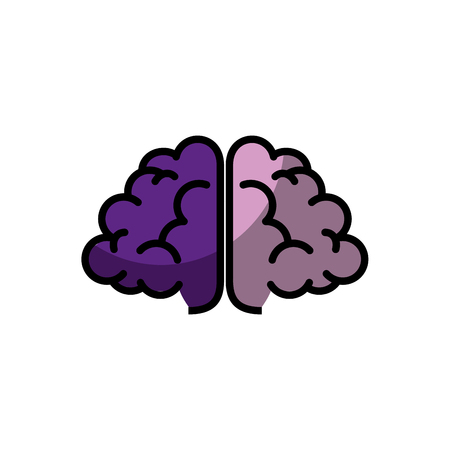purple brain icon over white background. vector illustration