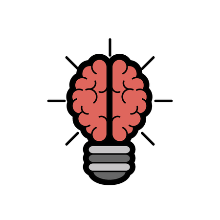 desing: brain bulb icon over white background. colorful desing. vector illustration