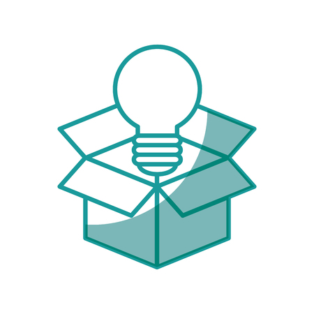 box with bulb light icon over white background. vector illustration