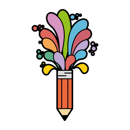pencil with colorful shapes icon over white background. vector illustration Illustration