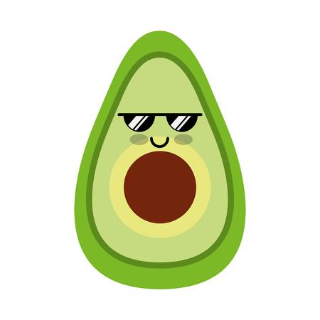 avocado fresh vegetable kawaii character vector illustration design Illustration