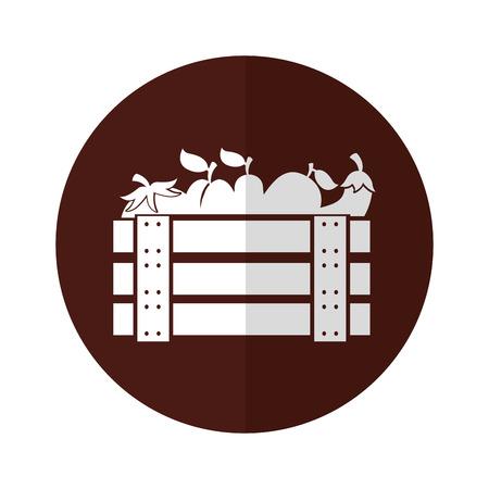 wooden basket with fruits and vegetables vector illustration design