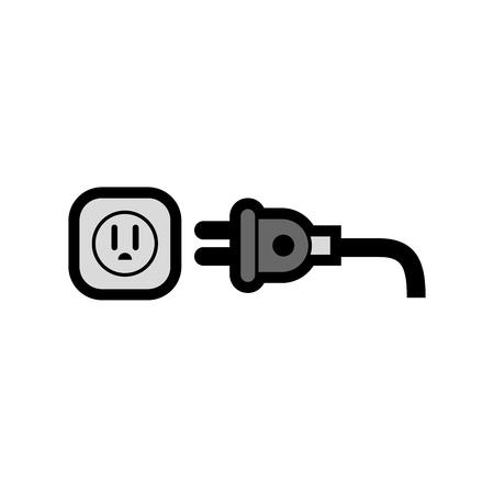 白い背景上の電気プラグ アイコン。ベクトル図