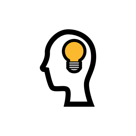 head with bulb icon over white background. vector illustration