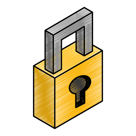 safe secure padlock isometric icon vector illustration design