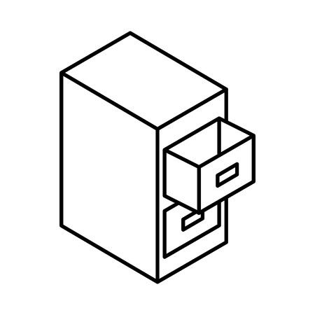 Document archiefkast isometrische vector illustratie ontwerp