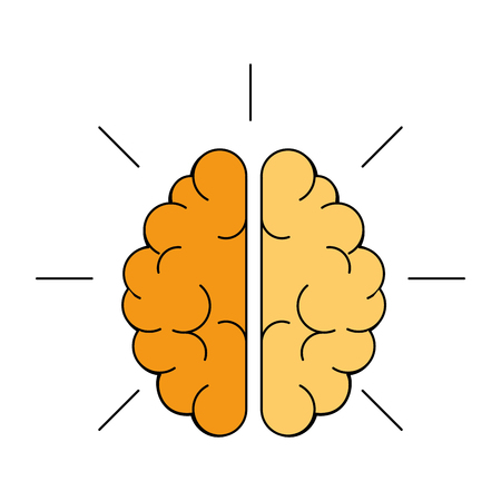 colorful brain icon over white background. vector illustration