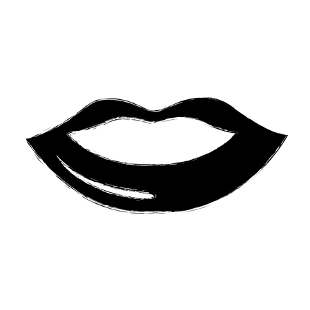 女性の唇分離アイコン ベクトル イラスト デザイン