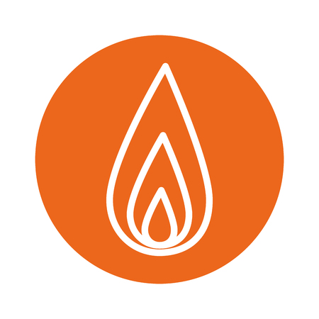 fire flame icon over orange circle and white background. vector illustration