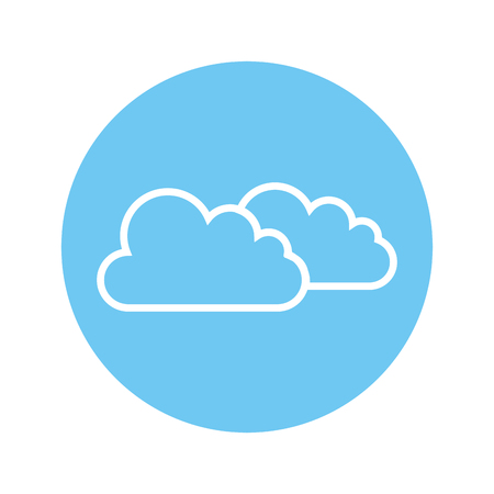 clouds icon over blue circle and white background. vector illustration Illustration
