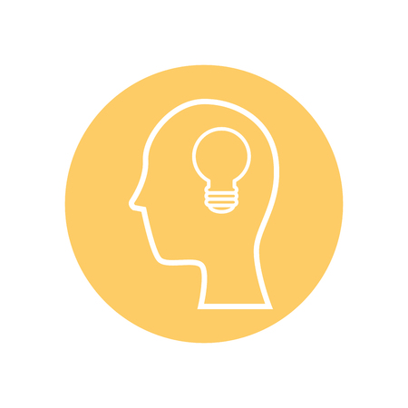head with bulb icon over yellow  circle and white background. vector illustration
