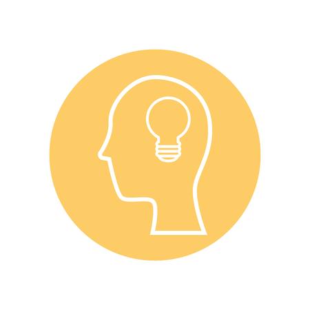 hoofd met gloeilampje over gele cirkel en witte achtergrond. vector illustratie