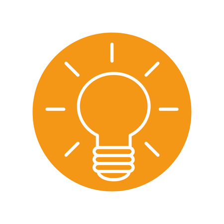 bulb icon over orange circle and white background. vector illustration Иллюстрация