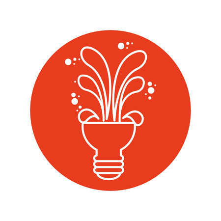 bulb with creative shapes icon over red circle and white background. vector illustration Illustration