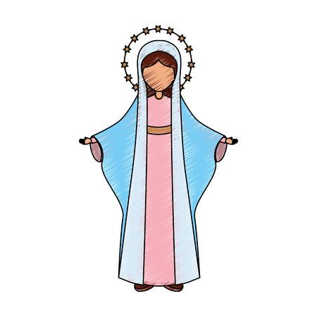 거룩한 처녀 메리 아이콘 벡터 일러스트 디자인