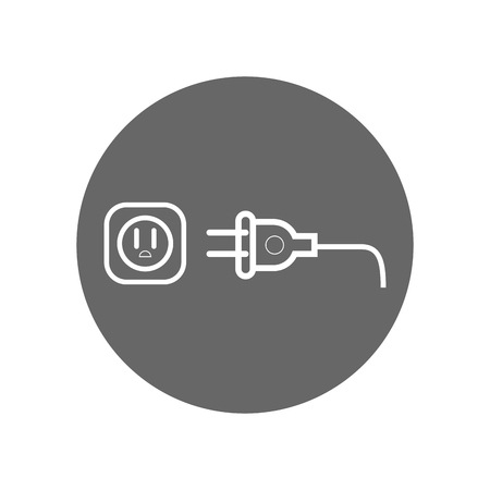 electric plug icon over gray circle and white background. vector illustration Иллюстрация