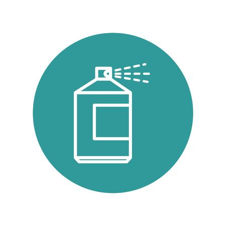 ターコイズ円と白い背景上のスプレー ボトル アイコン。ベクトル図  イラスト・ベクター素材