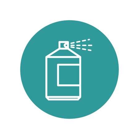 spray bottle icon over turquoise circle and white background. vector illustration