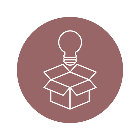 doos met lampje pictogram over paarse cirkel en witte achtergrond. vectorillustratie Stock Illustratie