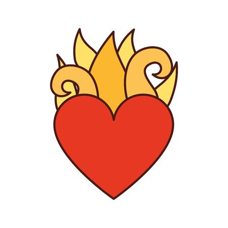 Maagd Maria hart met vlammen vector illustratie ontwerp