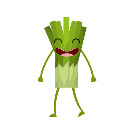 celery fresh vegetable kawaii character vector illustration design