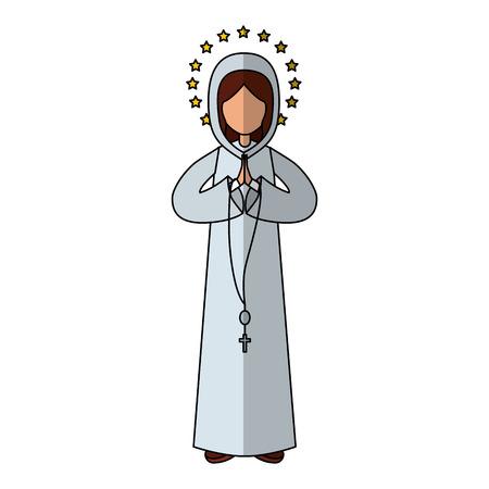 religiosity: Holy virgin mary icon vector illustration design