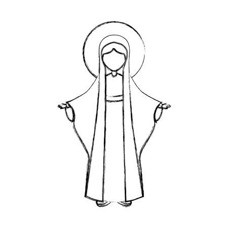 Heilige maagd mary icon vector illustratie ontwerp Stockfoto - 77520825
