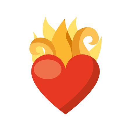 het maagdelijke hart van Mary met ontwerp van de vlammen het vectorillustratie