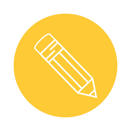 pencil utensil icon over yellow circle and white background. vector illustration
