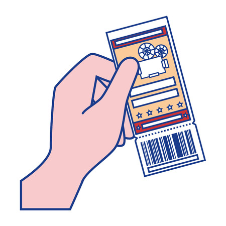 hand holding a cinema ticket icon over white background. colorful design. vector illustration Illustration