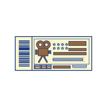 cinema ticket icon over white background. colorful design. vector illustration