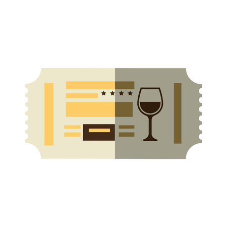 restaurant ticket with wineglass icon over white background. colorful design. vector illustration