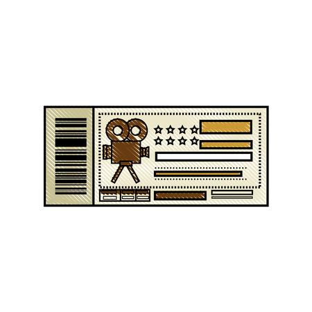 cinema ticket icon over white background. colorful design. vector illustration Stock Vector - 77520950