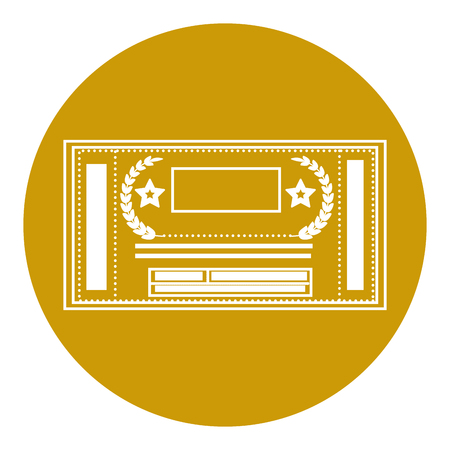 entertainment ticket icon over yellow circle and  white background. vector illustration Illustration