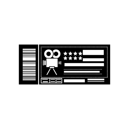 cinema ticket icon over white background. vector illustration