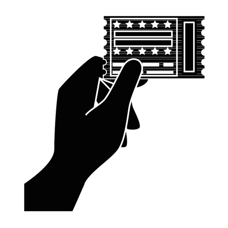 hand holding a entertainment ticket icon over white background. vector illustration