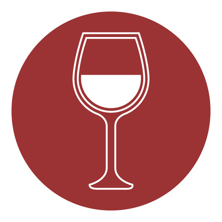 wineglass icon over red circle and white background. vector illustration