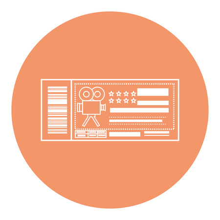 cinema ticket icon over orange circle and white background. vector illustration