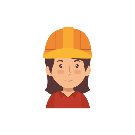 woman with safety helmet, cartoon icon over white background. under construction concept. colorful design. vector illustration