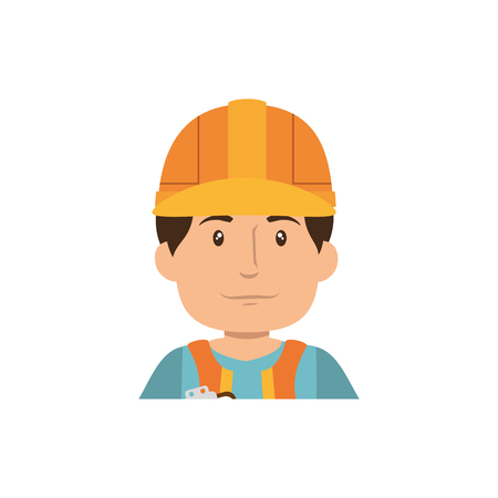 man with safety helmet, cartoon icon over white background. under construction concept. colorful design. vector illustration Illustration