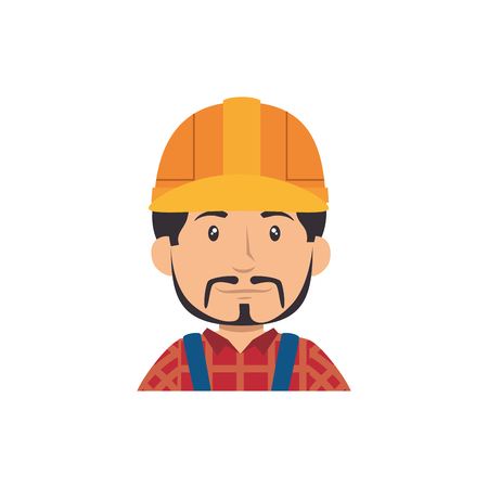 man with safety helmet, cartoon icon over white background. under construction concept. colorful design. vector illustration 向量圖像