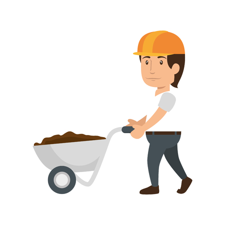 construction worker holding a wheelbarrow with soil icon over white background. colorful design. under construction concept. vector illustraiton