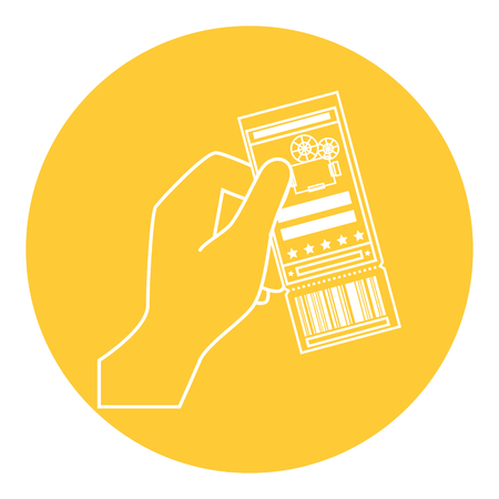 cinema ticket icon over yellow circle and white background. vector illustration