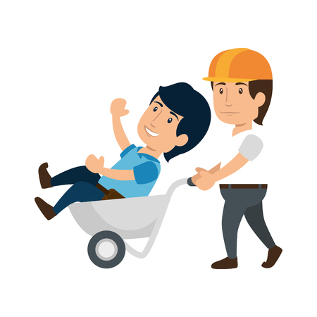 illustraiton: construction worker holding a wheelbarrow with a man icon over white background. colorful design. under construction concept. vector illustraiton
