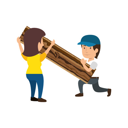 construction workers holding a wood plank icon over white background. colorful design. under construction concept. vector illustraiton