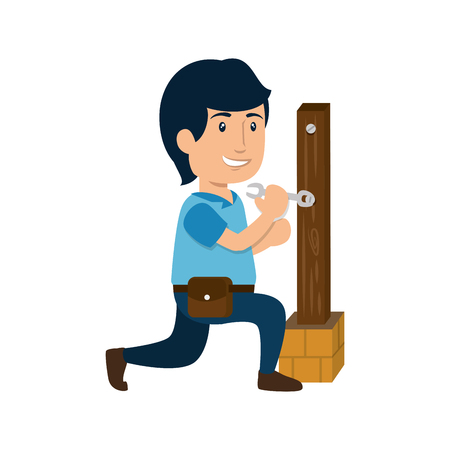 construction worker with repair tool icon over white background. colorful design. under construction concept. vector illustration