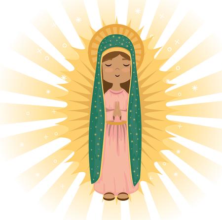 과달 루페 종교 카드 벡터 일러스트 디자인의 거룩한 처녀