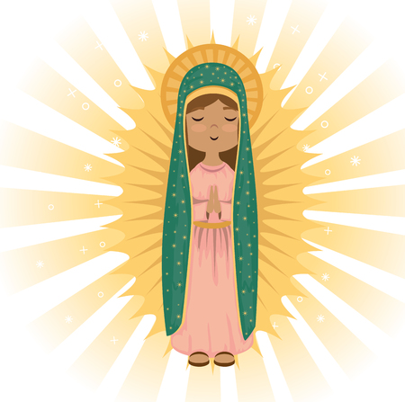 holy virgin of guadalupe religious card vector illustration design