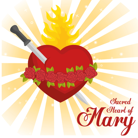 sacred heart of mary vector illustration design