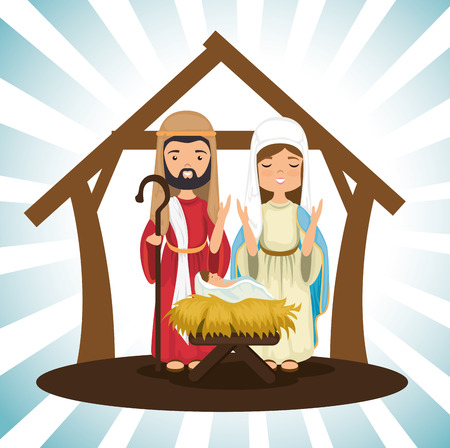 holy family religious card vector illustration design
